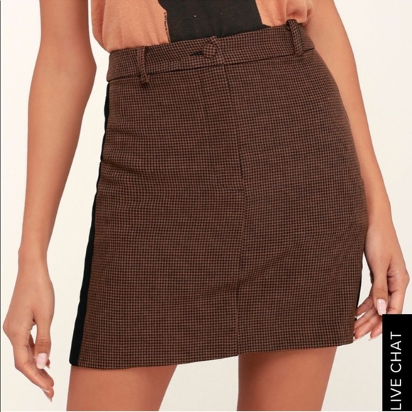 J.O.A. Dresses & Skirts - Abbott Brown Houndstooth Mini Skirt from Revolve